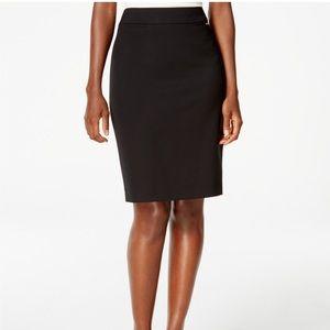 Tahari ASL Double Slit Black Pencil Skirt 10